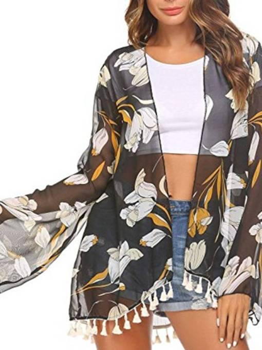 Sheer Open Front Tassel Floral Women's Cape