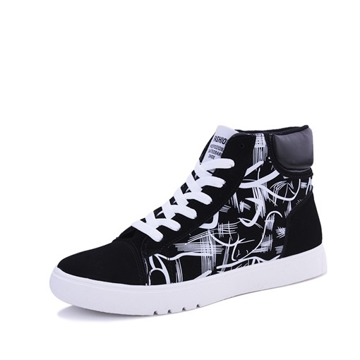 Lace-Up Round Toe High Top Stripe Chic Men's Sneakers
