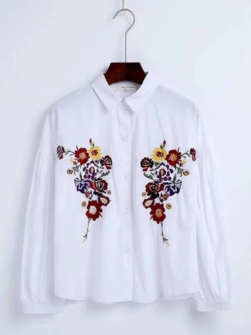 Plain Floral Embroidery Butoon Down Women's Shirt