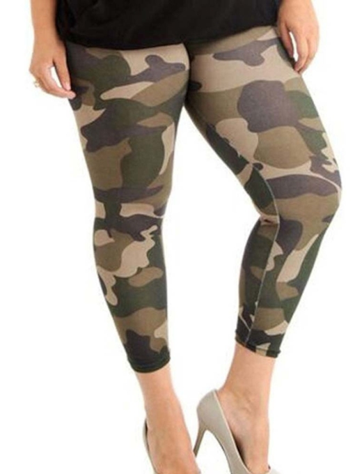 Plus Size Camo Print Skinny Women's Leggings