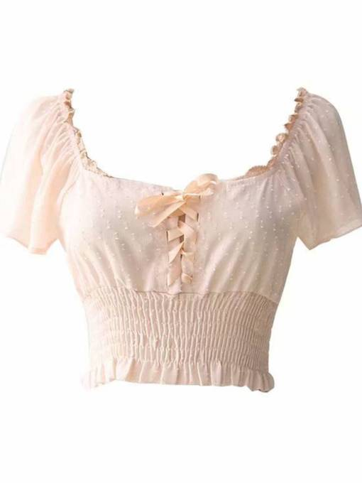 Lace Up Square Neck Elastic Waist Women's Blouse