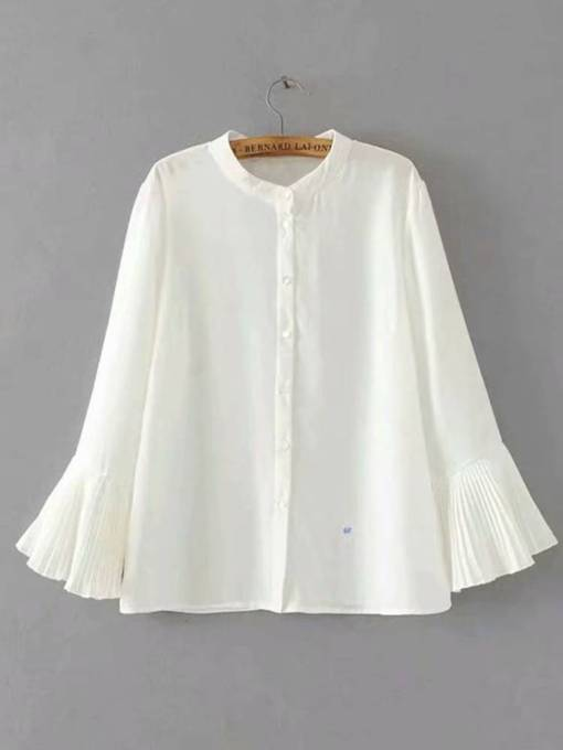 Flare Sleeve Stand Collar Single-Breasted Women's Shirt