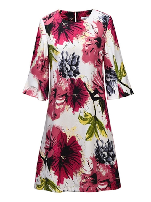 3/4 Sleeve Printing Women's A-Line Dress