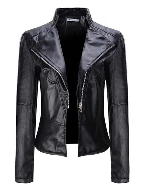 PU Zipper Up Slim Fit Lapel Women's Jacket
