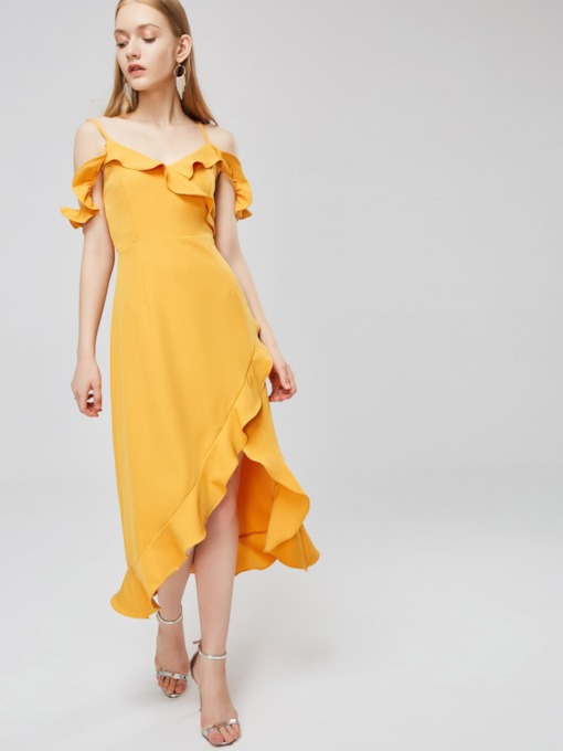 Ruffle Shoulder Sleeveless Travel Maxi Dress