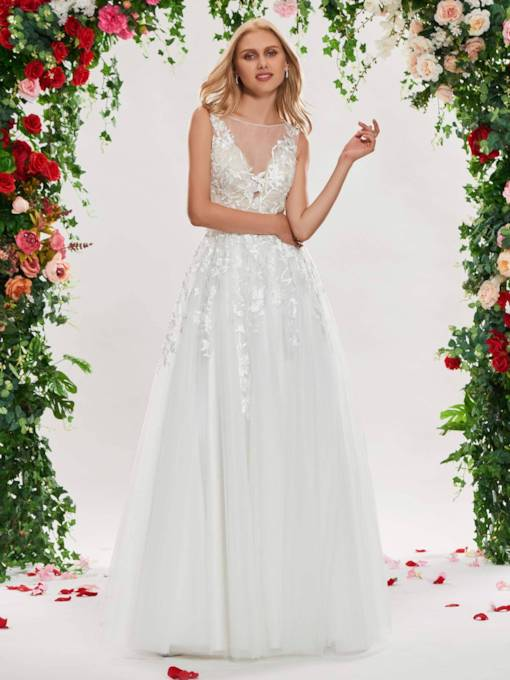 Sheer Neck Appliques Buttoned Wedding Dress