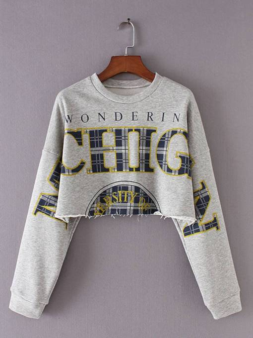Letter Print Scoop Neck Women's Cropped Sweatshirt