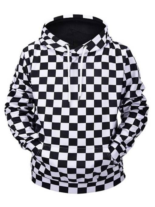 Black White Plaid Loose Men's Hoodie
