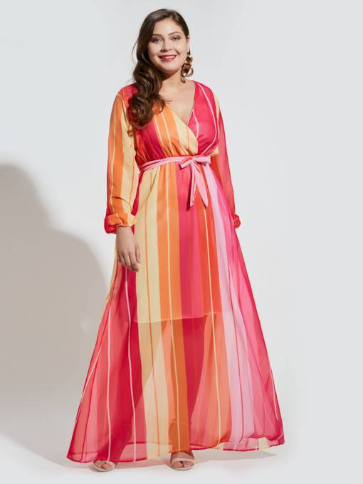 Plus Size Belt Stripe High Waist Women's Maxi Dress