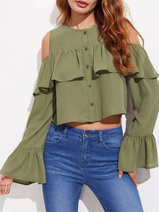Cold Shoulder Flare Sleeve Ruched Women's Shirt