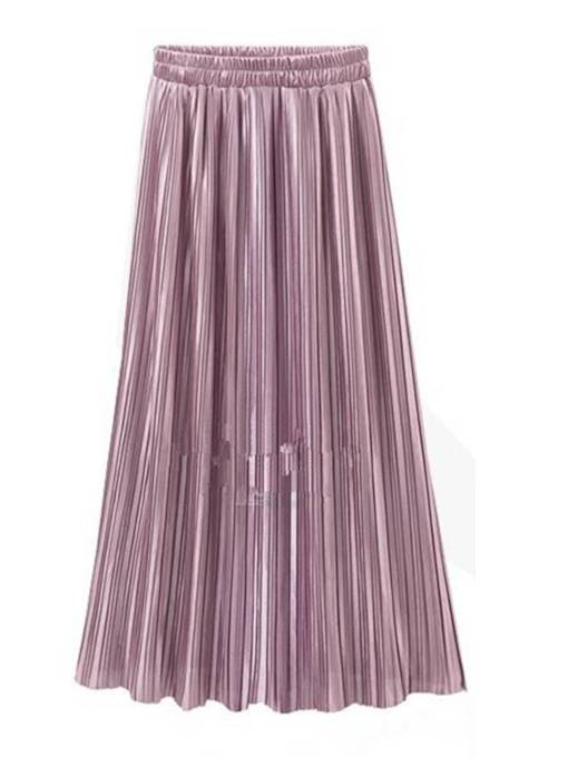 Plain Pleated Elastic High Waist Women's Maxi Skirt