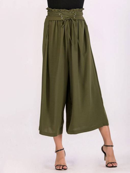 Plain Loose Lace-Up Women's Casual Cropped Pants