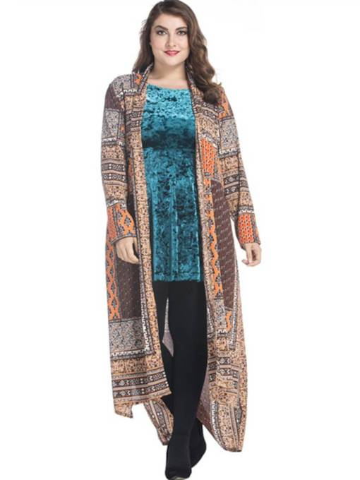 Plus Size Open Front Geometric Print Women's Cardigan