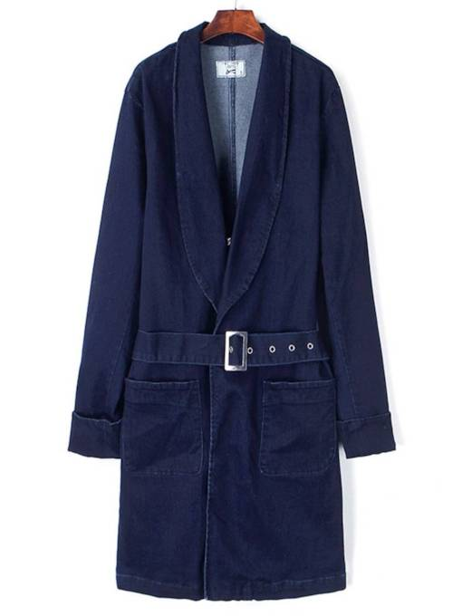 Mid Length Belt Double Pocket Tight Wasit Women's Trench Coat