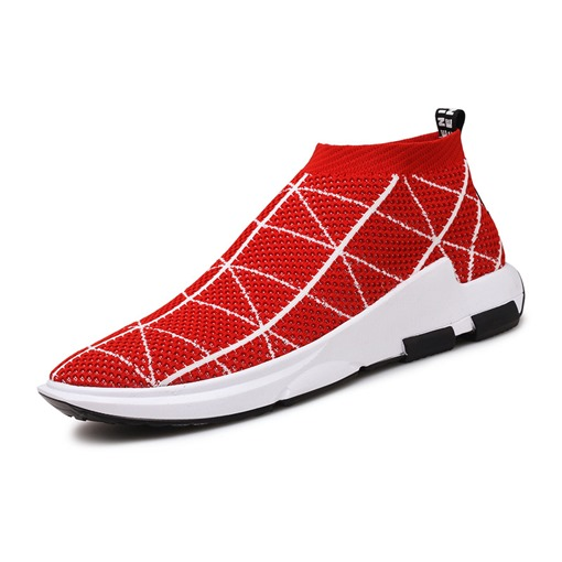 Mesh Plaid Pattern Slip-On Trendy Men's Trainers