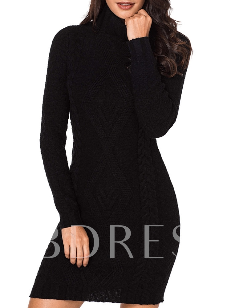 Buy Solid Color Turtle Neck Women's Sweater Dress, Spring,Fall,Winter, 13370026 for $29.60 in TBDress store