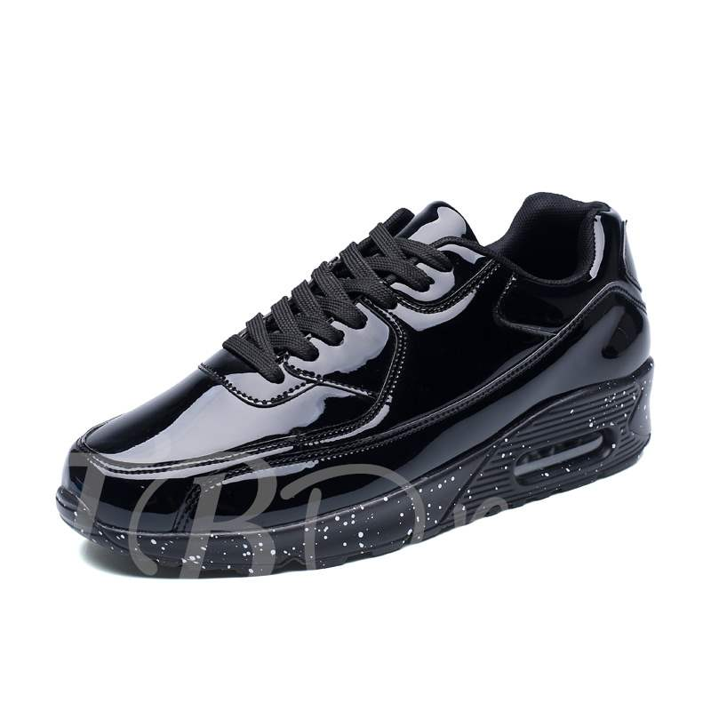 Lace-Up Round Toe PU Trendy Men's Cushion Sneakers