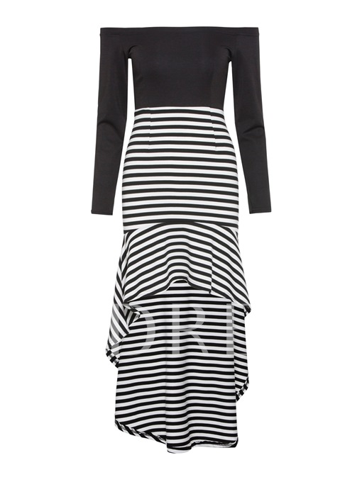 Off Shoulder Stripe Hem A-Line Dress