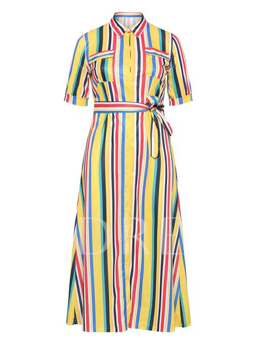 Plus Size Half Sleeve Pocket Belt Stripe Maxi Dress