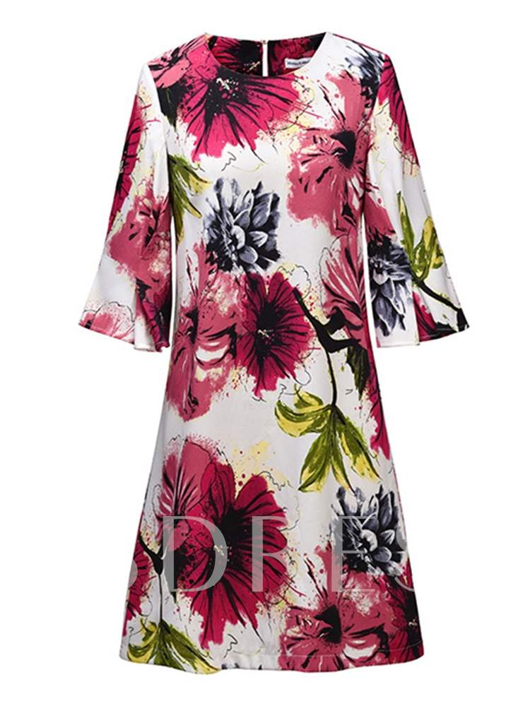 Buy 3/4 Sleeve Printing Women's A-Line Dress, Summer,Fall, 13372218 for $13.99 in TBDress store