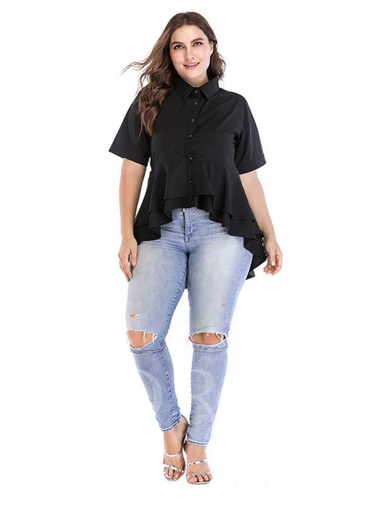 Falbala Mid Length Irregular Hem Plus Size Women's Shirt