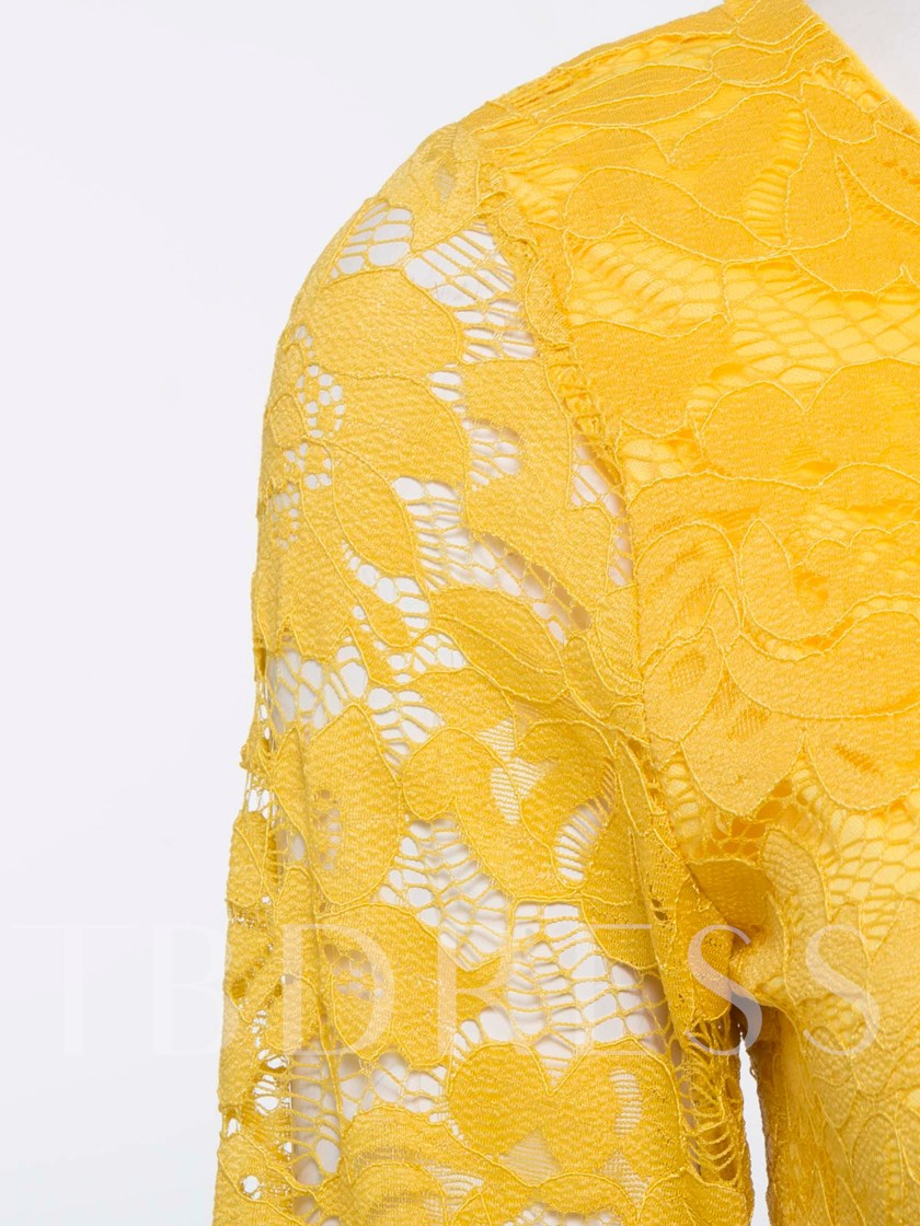 Yellow Round Neck Long Sleeve Lace Dress