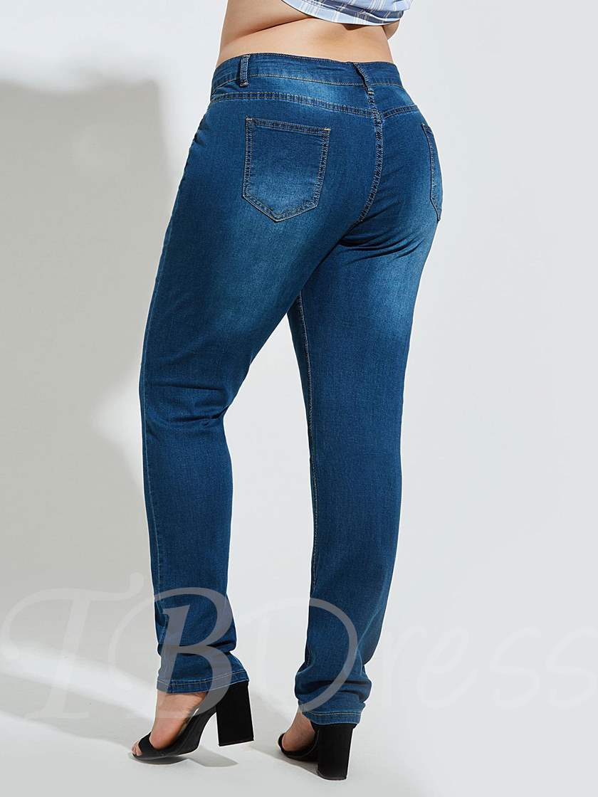 Plus Size High Waist Knee Destroyed Women's Jeans