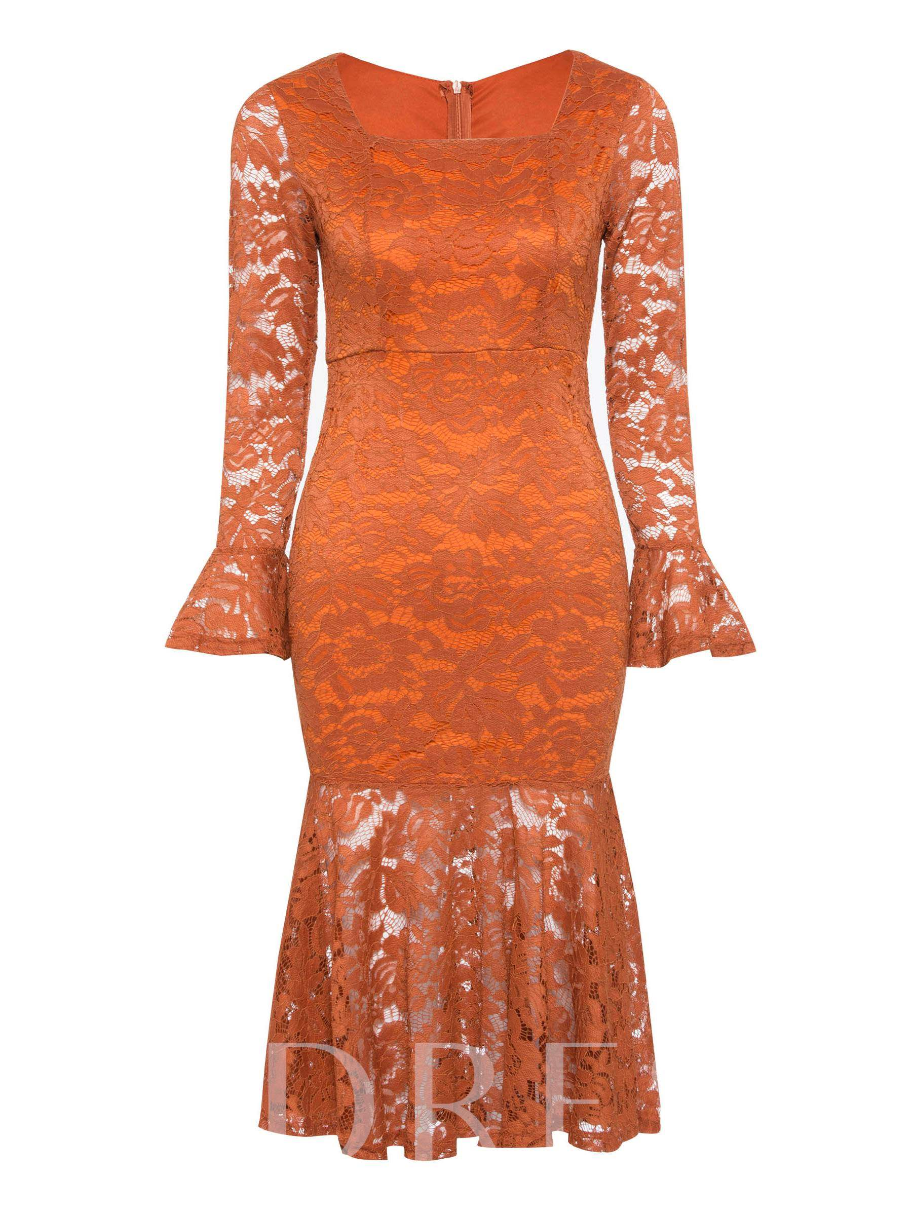 Buy Square Neck Long Sleeve Ruffle Lace Dress, Spring,Summer,Fall, 13371313 for $19.36 in TBDress store