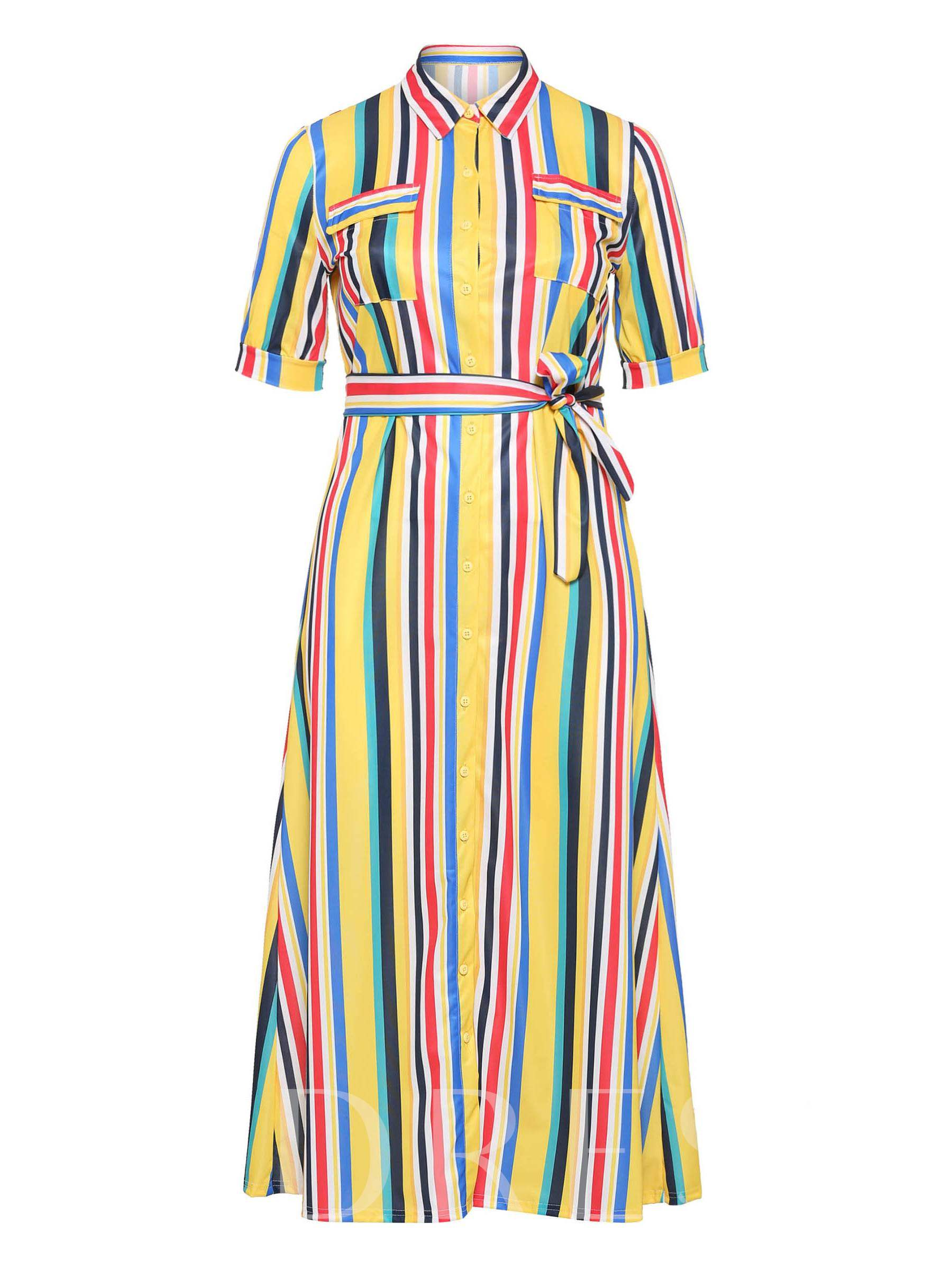 Buy Plus Size Half Sleeve Pocket Belt Stripe Maxi Dress, Plusee, 13378104 for $22.43 in TBDress store