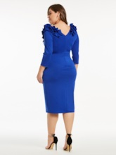 Plus Size Blue Ruffle Shoulder High-Waist Bodycon Dress