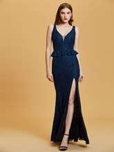V Neck Sequins Mermaid Evening Dress