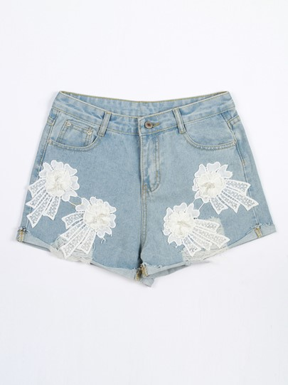 Denim Lace Patchwork Hole Women's Shorts