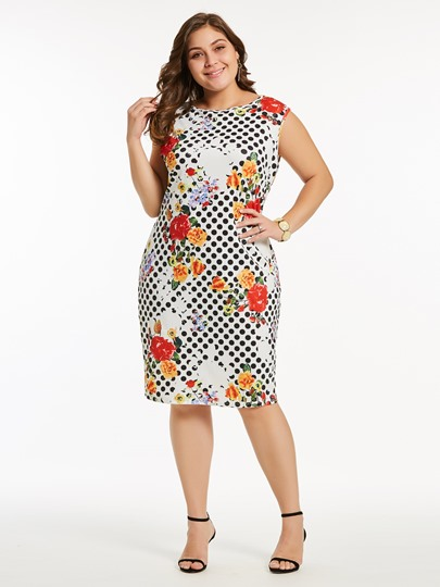 Plus Size Polka Dots Floral Prints Bodycon Dress