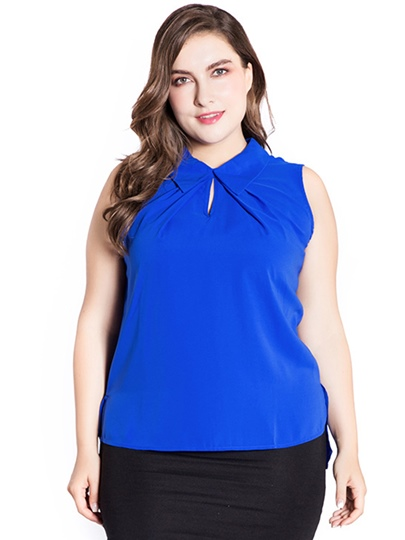 Plus Size Pleated Sleeveless Stand Collar Women's T Shirt