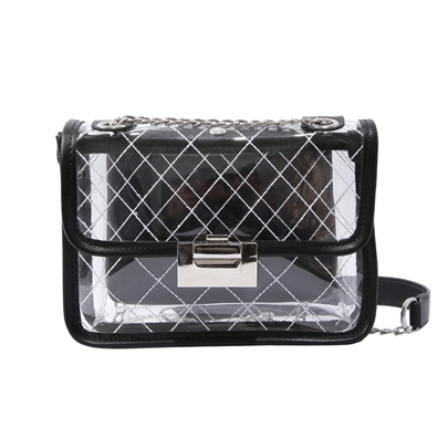 PVC Plaid Lock Chain Jelly Bag