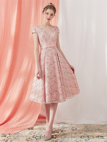 A-Line V-Neck Bowknot Lace Sashes Prom Dress