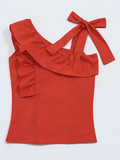 Frill Bow Tie One Shoulder Off Women's Tank Top