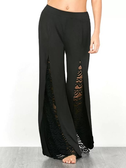 Patchwork Lace High Waist Women's Casual Pants
