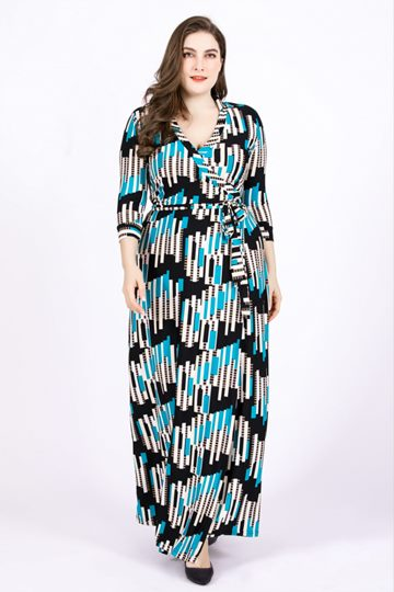 Plus Size V Neck Stripe Color Block Maxi Dress