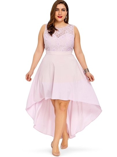 Plus Size Pink Elegant A-Line Sleeveless Day Dress