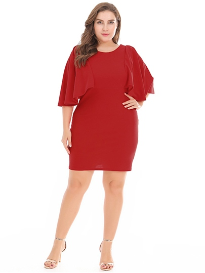 Plus Size Plain Batwing Sleeve Bodycon Dress