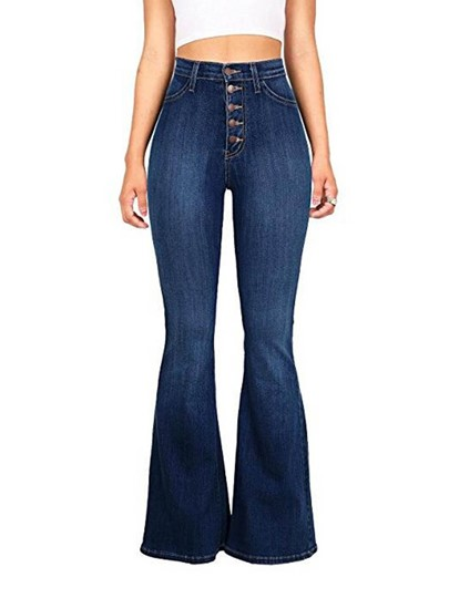 Denim Button High Waist Womens Jeans 13292830