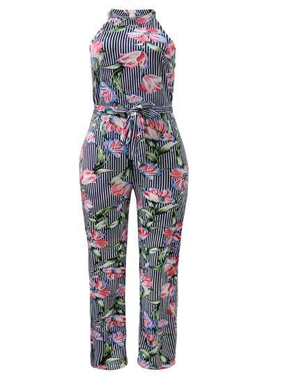 Floral Print Turtleneck Sleeveless Women's Jumpsuit