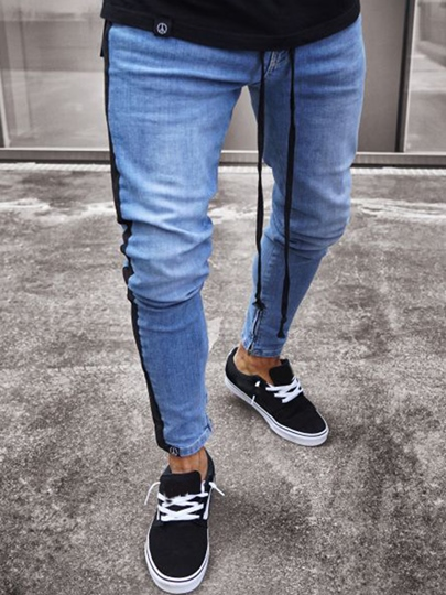 Hole Zipper Slim Men's Jeans