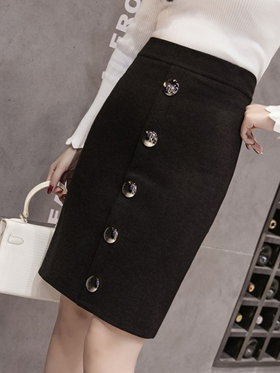 Button High Waist Women's Skirt