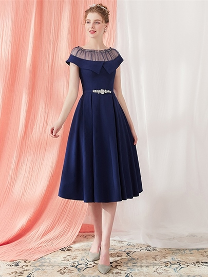A-Line Scoop Beading Crystal Tea-Length Prom Dress