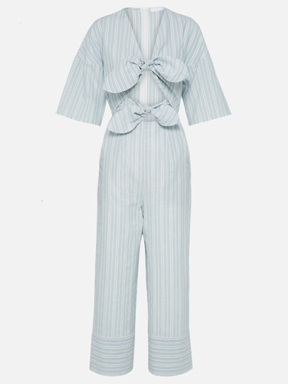 Stripe Hollow Bow Tie Women's Jumpsuit