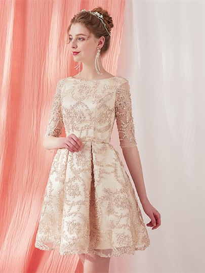 A-Line Scoop Lace Half Sleeves Cocktail Dress