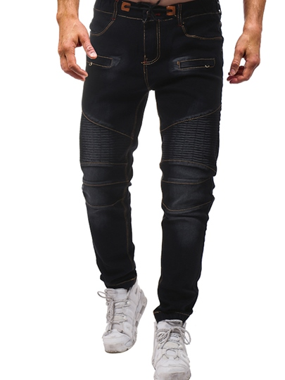 Lace-up Elastic Loose Mens Jeans