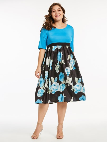 Plus Size Blue High Waist Floral Prints Day Dress